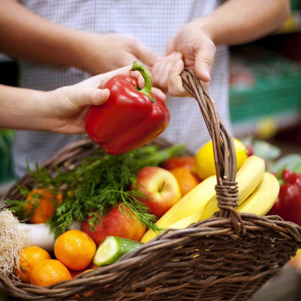 Basket filled healthy food